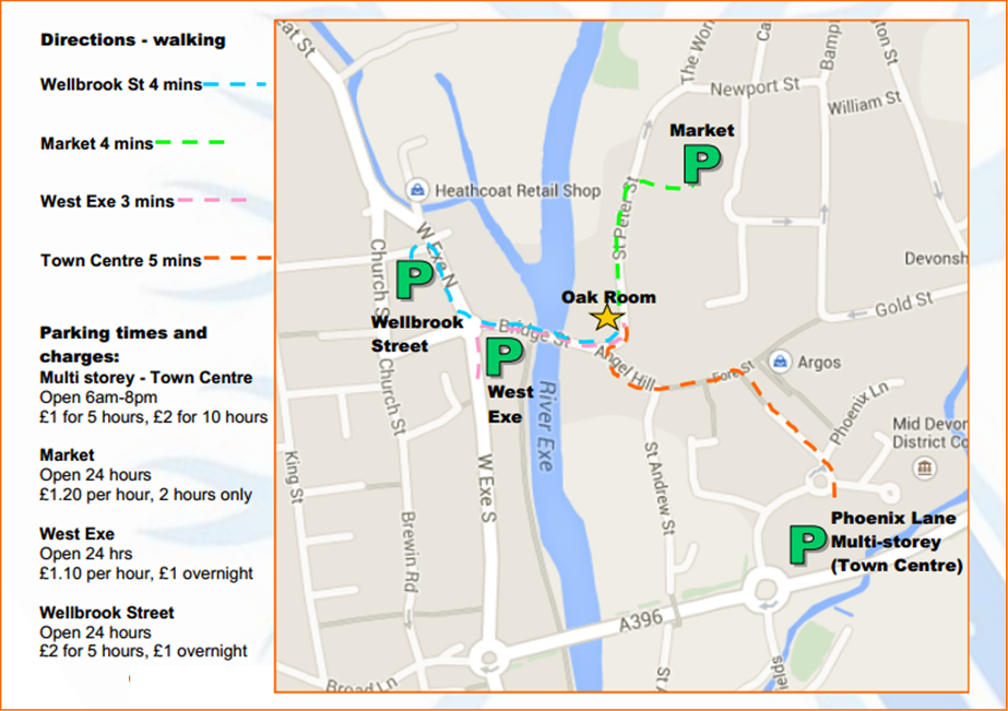 Parking map and directions to Oak Room Tiverton