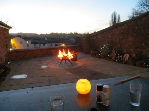 A fireside supper in the secret garden at The Oak Room Tiverton
