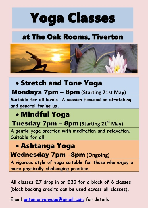 New Yoga Classes at The Oak Rooms May 2018